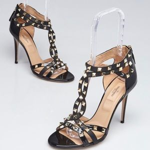 Valentino black leather rockstud Strappy sandals